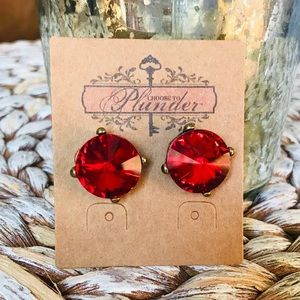 NEW PLUNDER Red Stone Sparkle Large Round Earrings